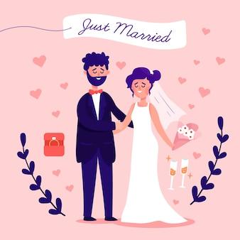 Gerade verheiratetes paar im flachen design