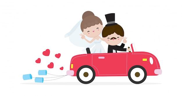 Gerade verheiratetes paar im hochzeitsauto, braut und bräutigam auf einem roadtrip im auto nach der hochzeitszeremonie, karikatur verheiratetes charakterdesign lokalisiert auf weißem hintergrund illustration.