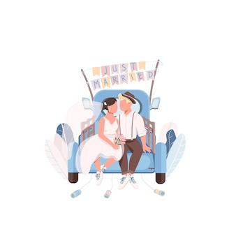 Gerade verheiratetes paar in auto flache farbe gesichtslose zeichen