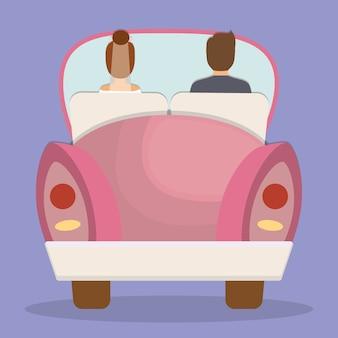 Gerade verheiratetes paar in einer rosa autoikone