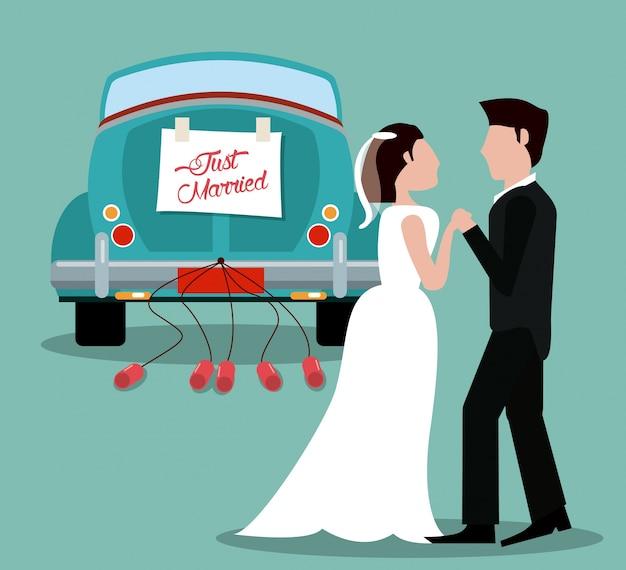 Gerade verheiratetes paar mit autoweinlese