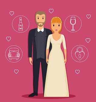 Gerade verheiratetes paar mit in verbindung stehenden ikonen der hochzeit herum
