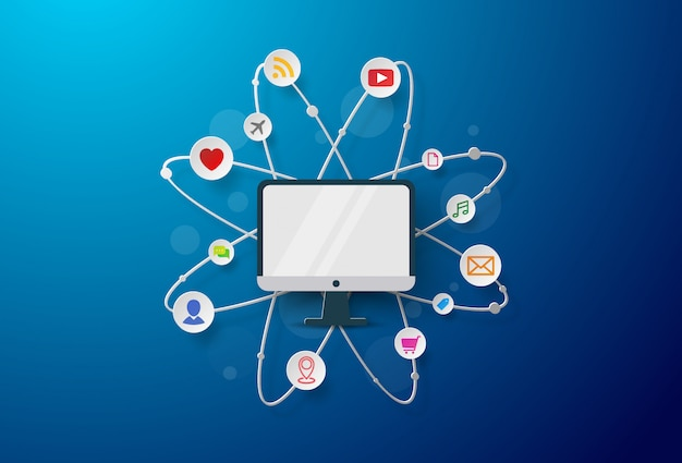 Geräte für den geschäftsmann mit für marketing, kommunikation, e-commerce