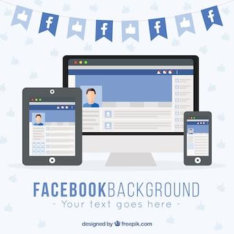 Geräte-hintergrund mit facebook web Kostenlosen Vektoren