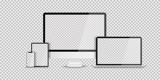 Geräte in realistischem trenddesign auf transparent