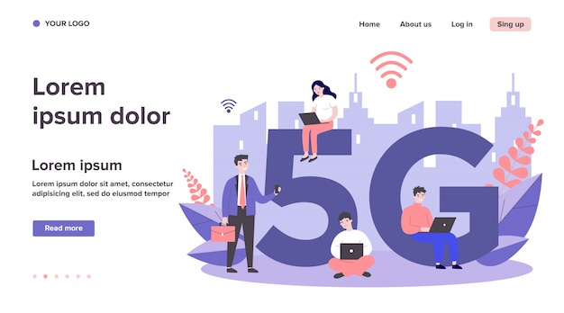 Gerätebenutzer, die 5g city internet genießen