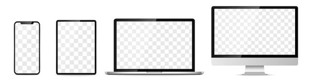 Gerätebildschirmsatz - laptop-smartphone-tablet-computer-monitor. vektor-illustration
