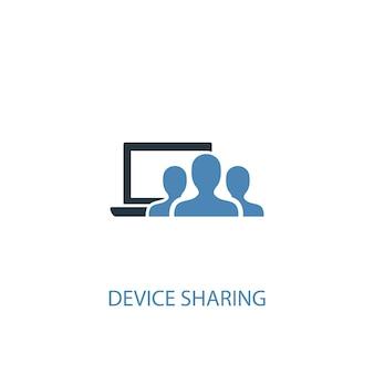 Gerätefreigabekonzept 2 farbiges symbol. einfache blaue elementillustration. symboldesign für die gemeinsame nutzung von geräten. kann für web- und mobile ui/ux verwendet werden