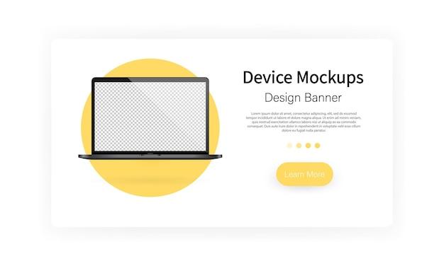 Gerätemodell-banner. leerer bildschirm des laptops. notizbuch. vektor auf weißem hintergrund isoliert. eps 10.