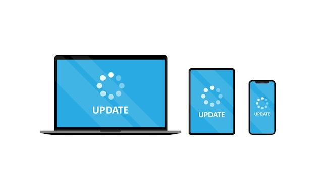 Gerätesatz aktualisieren. laptop-tablet und smartphone mit update. vektor-eps 10