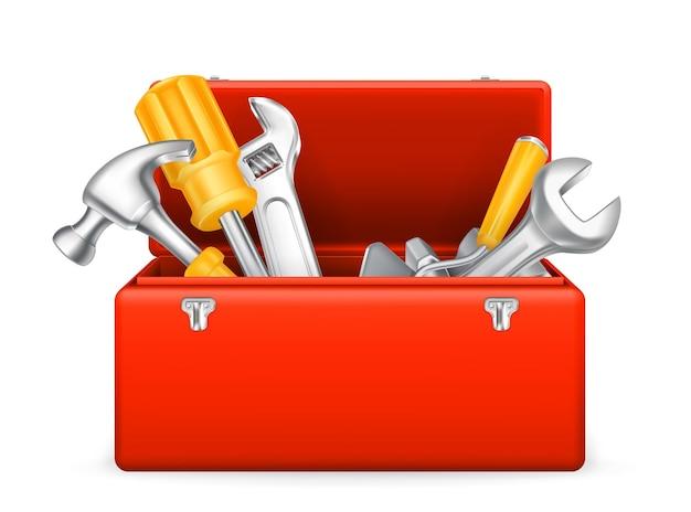 Geräteschuppen, werkzeugsatz, werkzeugkasten, schraubenschlüssel, symbol