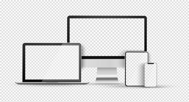 Geräteset mit leerem bildschirm, leerem computermonitor, telefon, tablet und laptop