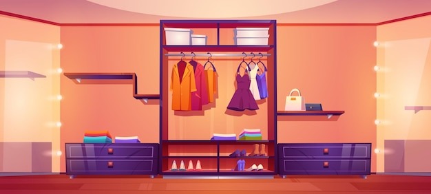 Geräumiger begehbarer kleiderschrank oder ankleidezimmer