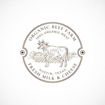 Gerahmte retro-abzeichen oder logo-schablone der rindfleisch- und milchfarm.