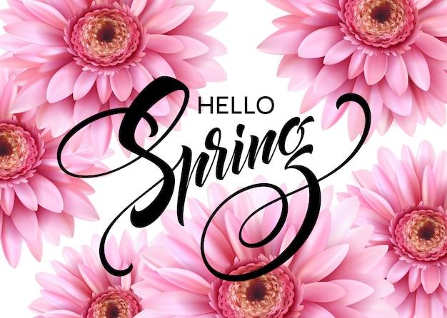 Gerbera flower und hello spring schriftzug.