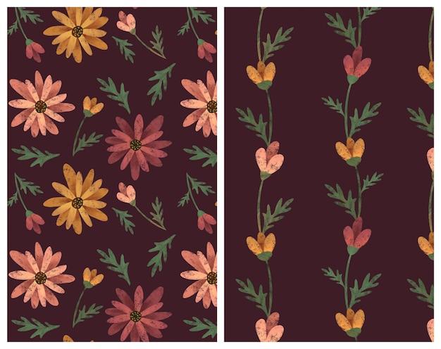 Gerberagänseblümchen und nahtloses muster des grüns