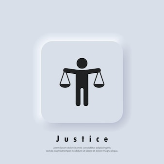 Gerechtigkeit-logo. skalierungssymbol. ethik-symbol. gesetzessymbole. vektor. ui-symbol. neumorphic ui ux weiße benutzeroberfläche web-schaltfläche. neumorphismus