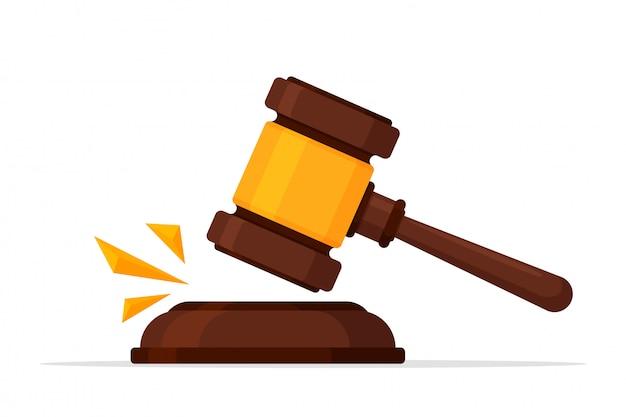 Gerechtigkeit-symbol. vector einen legalen hammer, der einen rechtsstreit vor dem gerichtshof abschlug.