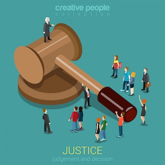 Gerechtigkeit und recht urteil und entscheidung gerichtssitzung gerichtssitzungskonzept kleine mikro-gelegenheitsleute und richter auf hammerflache isometrisch.