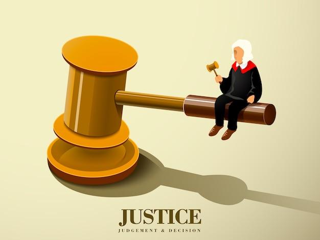 Gerechtigkeitskonzept mit einem richter, der auf einem hammer in der isometrischen grafik sitzt