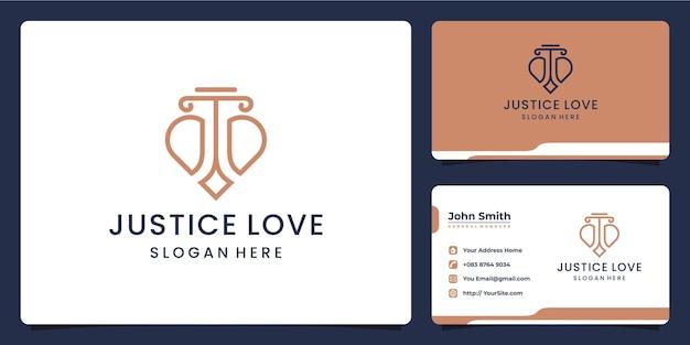 Gerechtigkeitsliebeslogo kombinieren und visitenkarte