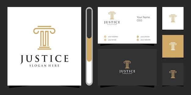 Gerechtigkeitslogo und visitenkarte.