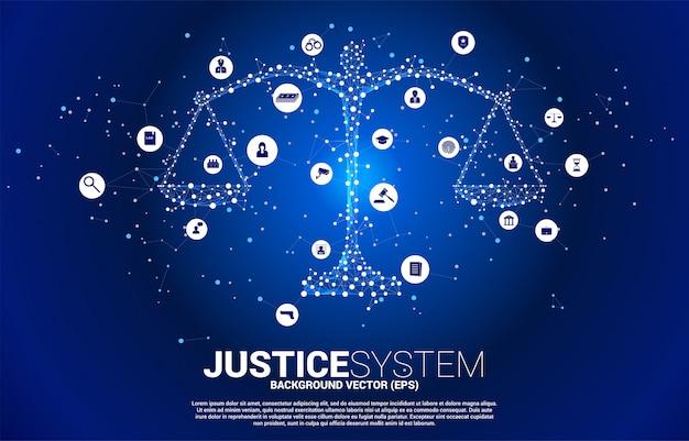 Gerechtigkeitsskala mit punkt- und linienverbindung und ikonenhintergrund