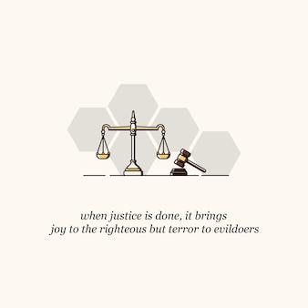 Gerechtigkeitsskala und hammer icon vector