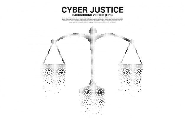 Gerechtigkeitsskala von der digitalen art des quadratischen pixels. konzept des cybersozialurteils