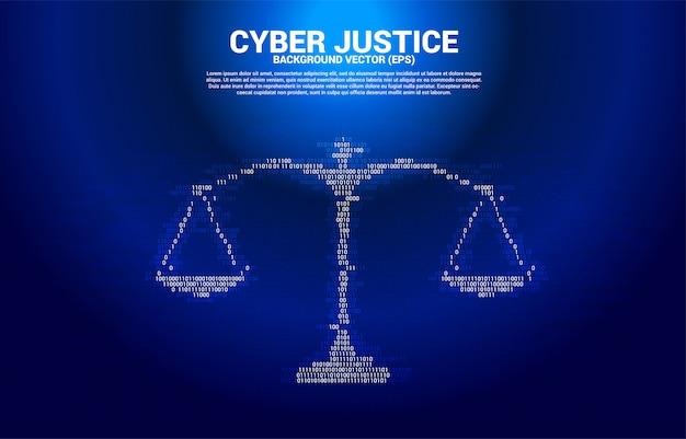 Gerechtigkeitsskala von einem und null binärcode ziffernmatrixstil. konzept des cybersozialurteils