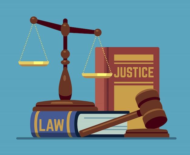 Gerechtigkeitsskalen und hölzerner richterhammer. holzhammer mit gesetzbuch. rechts- und gesetzgebungsbehörde-vektorkonzept
