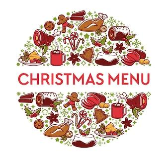 Gerichte für den winterurlaub, traditionelles essen für das weihnachtsmenü. kreisbanner mit kuchen und mistel, rindfleisch und hühnchen, lutschern und tee oder kaffee in der tasse. desserts und fleisch, vektor in flach