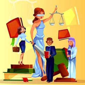 Gerichts- und gesetzesillustration von karikaturgesetzleuten und -symbolen.