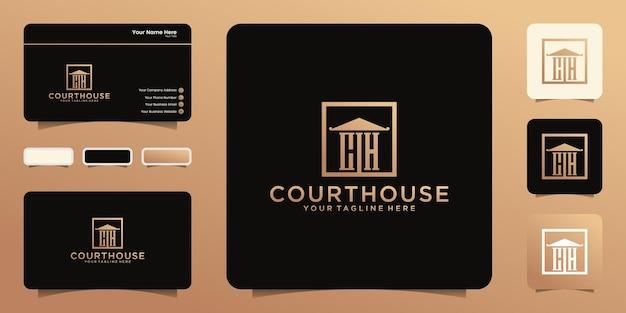 Gerichtsgebäude-design mit initialen ch-logo-symbolen, symbolen und visitenkarten