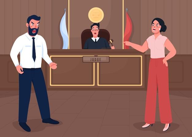 Gerichtssitzung flache farbabbildung. gerichtsurteil. anwalt untersucht verbrechen. offizielles urteil. rechtsanwalt, richter und staatsanwalt 2d-zeichentrickfiguren mit gerichtsgebäude auf hintergrund