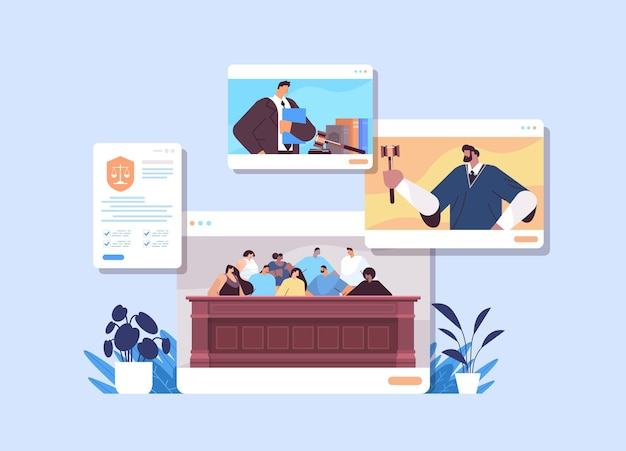 Gerichtsverfahren mit richter jury verdächtiger und anwalt oder anwalt in webbrowser-fenstern online-gerichtssitzungskonzept horizontales porträt
