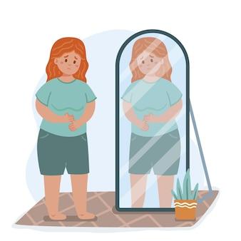 Geringes selbstwertgefühl mit frau und spiegel