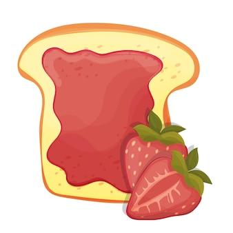 Geröstete brotscheibe eines sandwiches mit roter erdbeermarmelade zum frühstück und isoliert auf weißem hintergrund