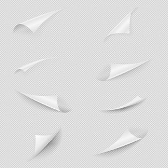 Gerollte papierecke. hochglanzweißes papierblatt gefaltete kanten gesetzt. leere sammlung gekräuselter seitenecken mit schatten und kopierraum auf transparentem hintergrund