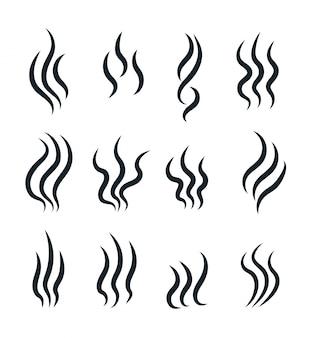 Geruchssymbole. fließende hitze, kochender dampf warmes aroma riecht stinkt, dampfender dampfgeruchsvektor isolierte liniensymbole