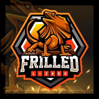 Gerüschtes drachenmaskottchen-esport-logo-design