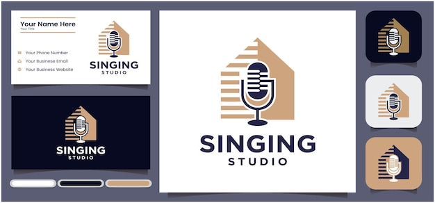 Gesangstudio-logo-design podcast-mikrofon-chat-logo-design radio-logo mit mikrofon
