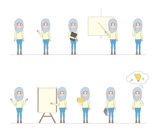 Geschäft arabische frau zeichen doodle design.