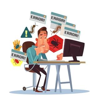 Geschäft beängstigender depressiver manncharakter mit gebrochenem computer.