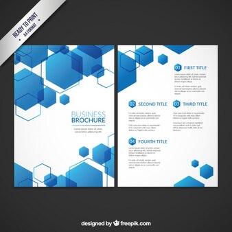 Geschäft broschüre vorlage mit blauen sechsecken
