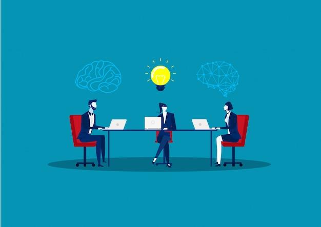 Geschäft, das mit ideenbirne auf blauem hintergrund denkt