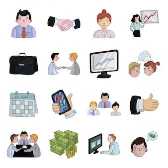 Geschäft der gesetzten ikone der konferenzkarikatur darstellung lokalisierte gesetzte ikone der karikatur. illustrationsgeschäft der konferenz.