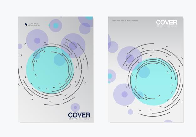 Geschäft festgelegt. broschürenschablonenabdeckung mit abstraktem rotationskreis