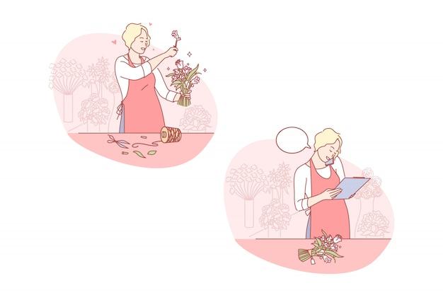 Geschäft, floristik, gesetzte illustration des blumenstraußes