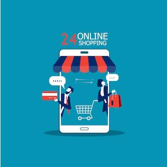 Geschäft fördern shopspeicher auf smartphone und kaufen on-line-konzeptillustrator